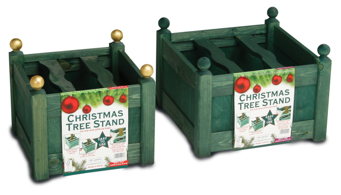 stained xmas tree stand green set