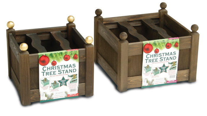 stained xmas tree stand oak set