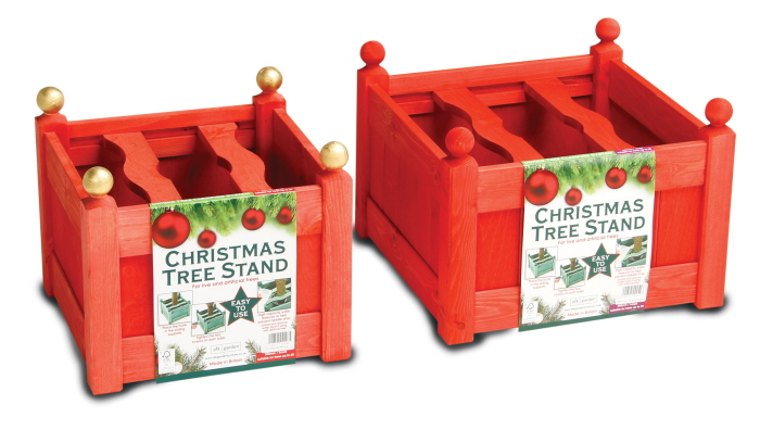 stained xmas tree stand red set
