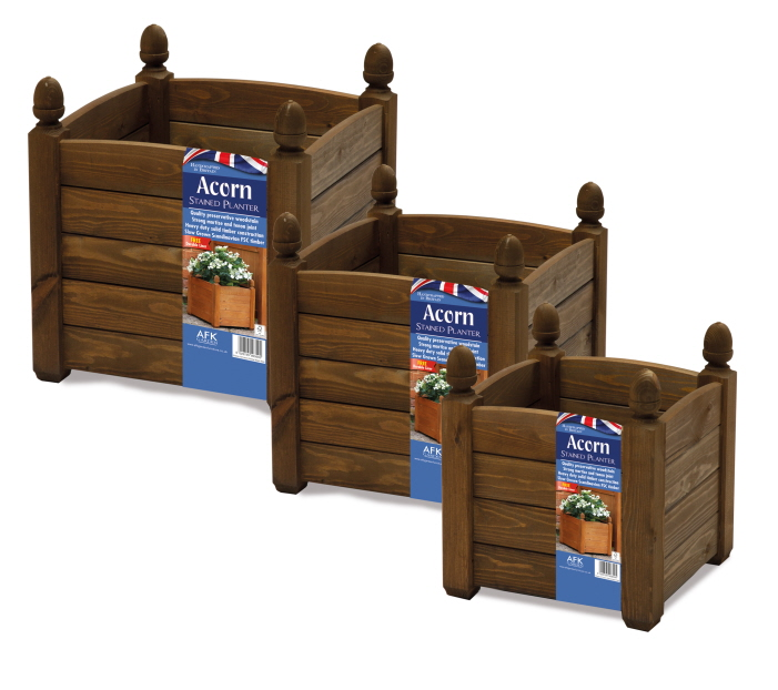 solid acorn planters chestnut