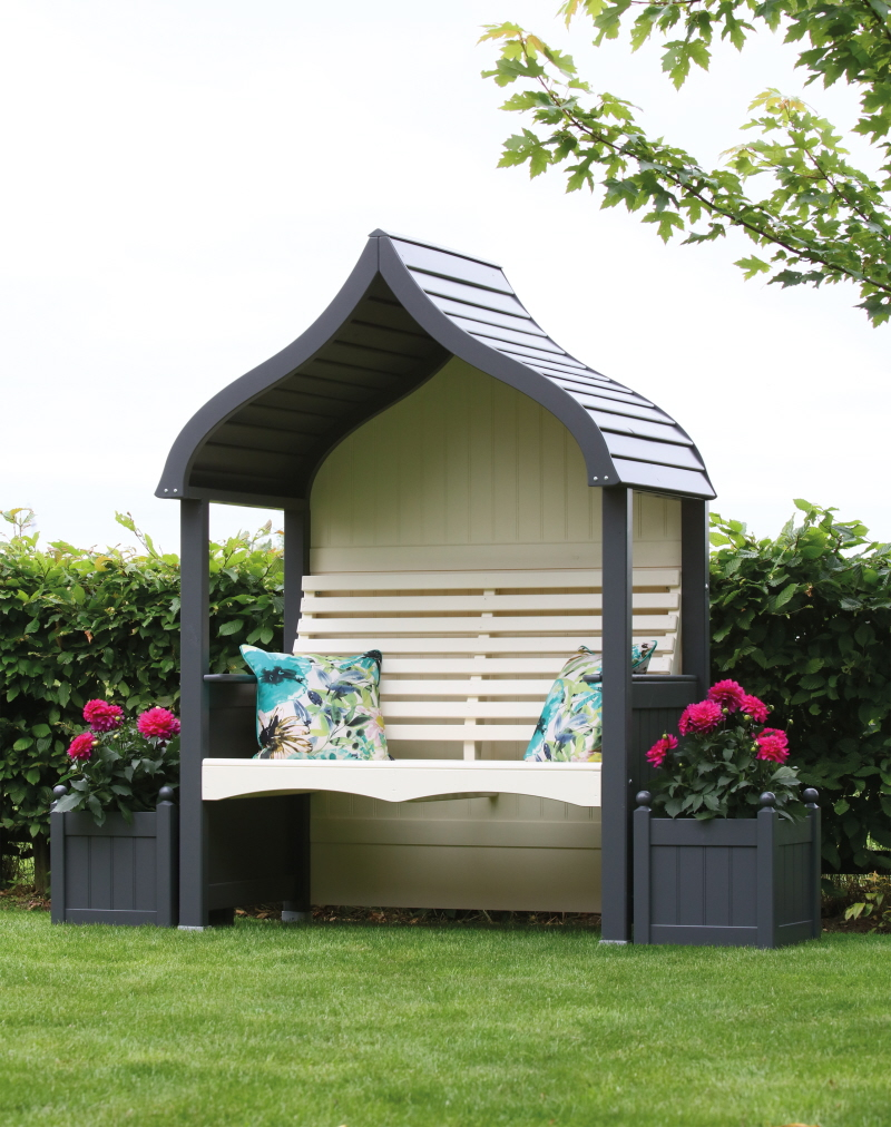 orchard arbour charcoal cream painted