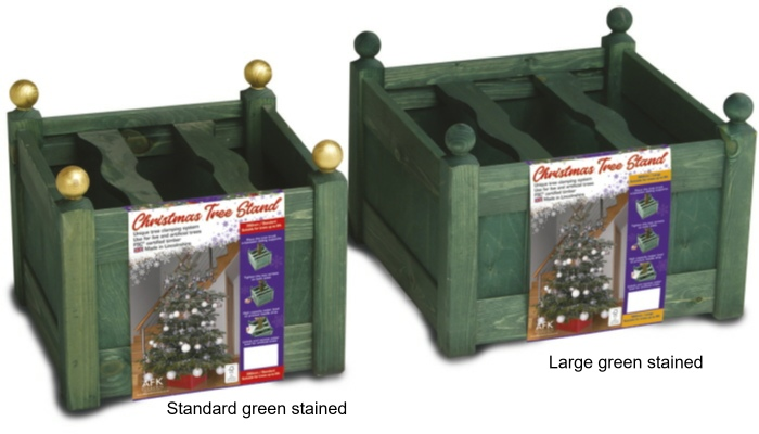 xmas tree stands green stained