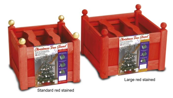 xmas tree stands red stained